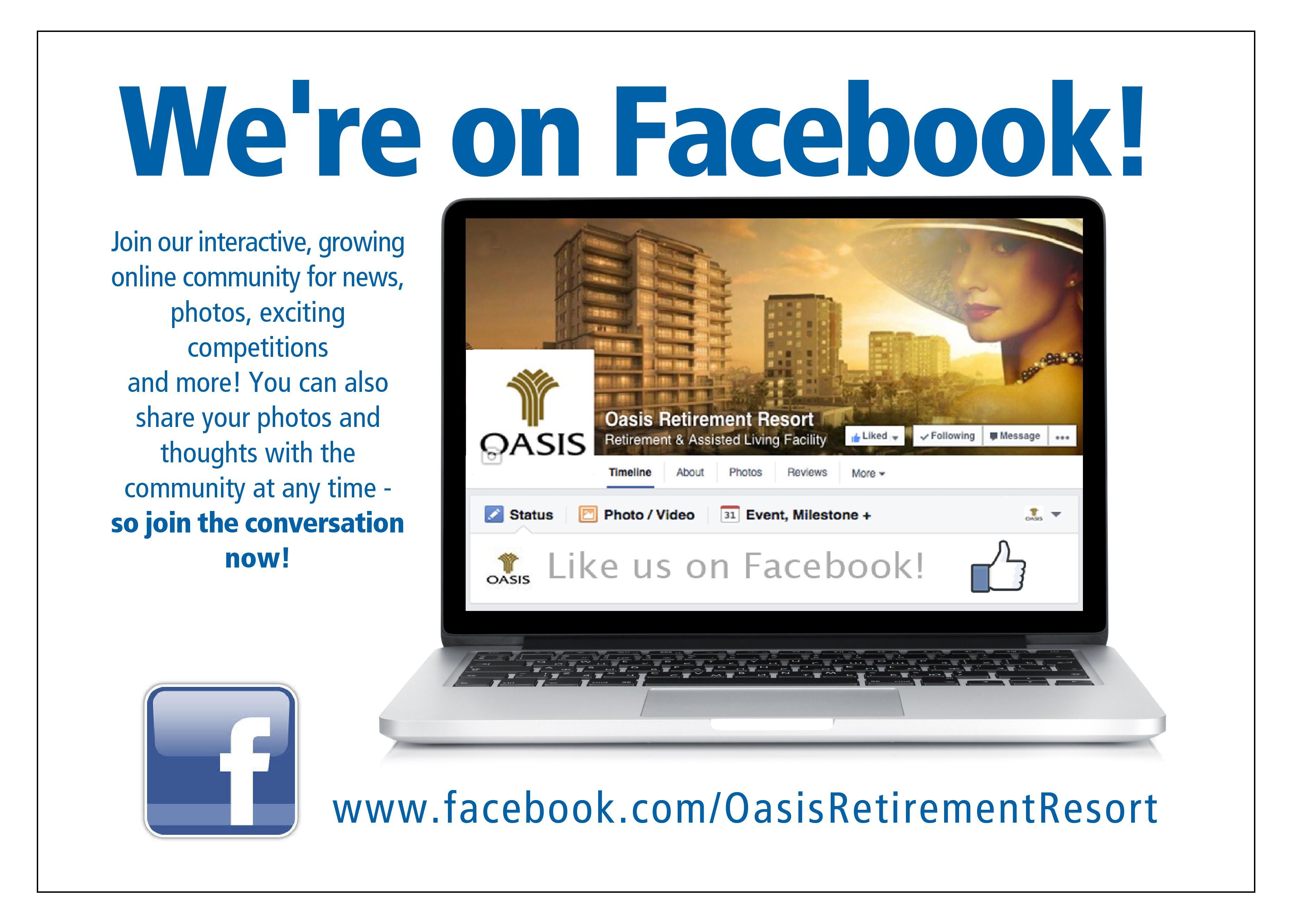 We Re On Facebook Oasis Retirement Resort