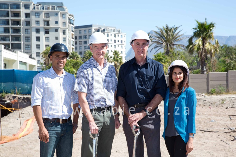 Turning the first sods on the site of Palme d'Or, the fourth building in the Oasis Luxury Retirement Resort at Century City, were from left, Raynard Haupt and Colin Green from Rabie Property Group, Nick McKinley of contractors WBHO and Nabilah Varachhia, also of Rabie.